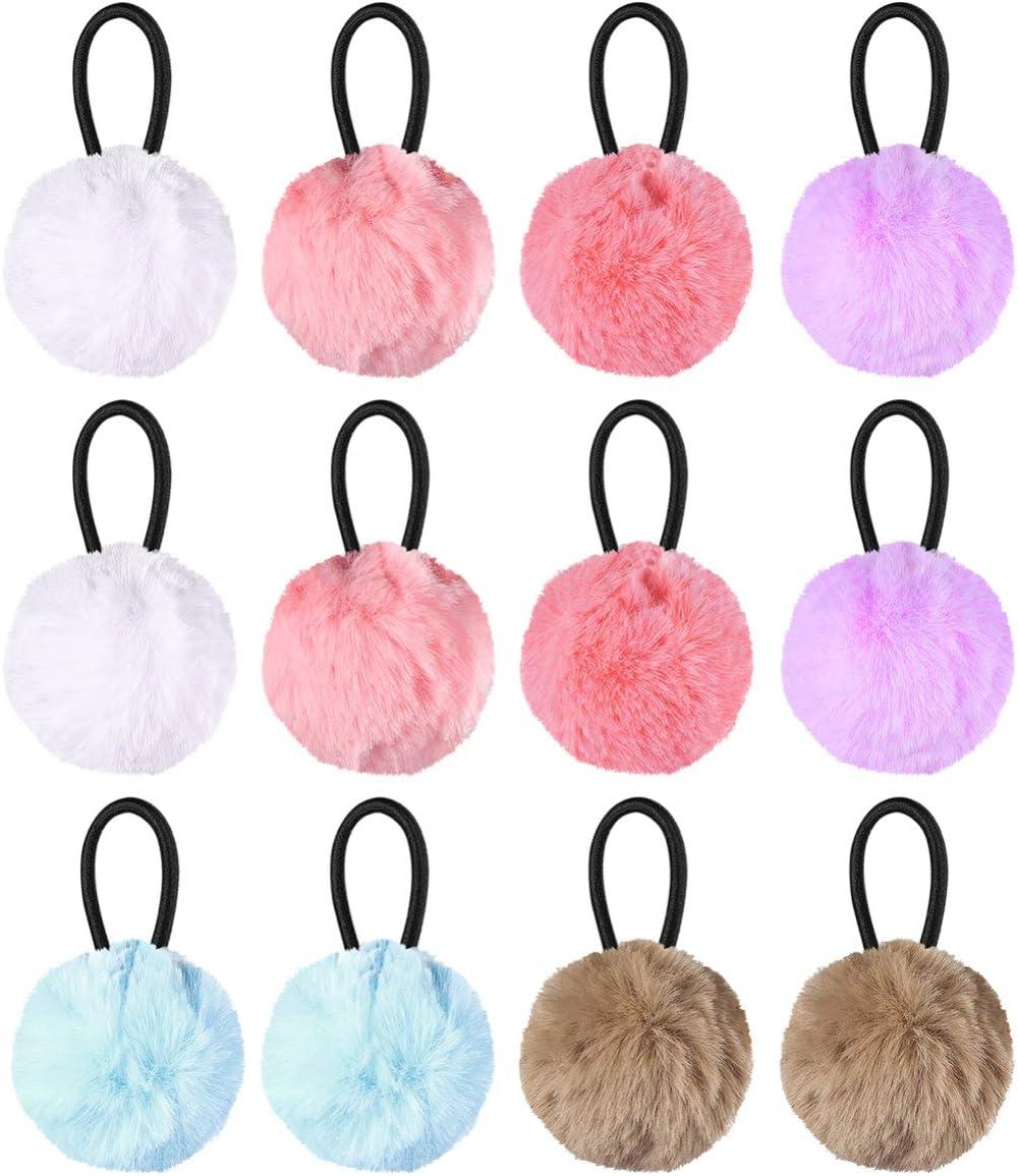 Lurrose 12pcs elásticos esponjosos pom pom ball lazos para el cabello pompones cuerdas para el cabello titulares de cola de caballo lindo accesorios para el cabello para regalo de cumpleaños