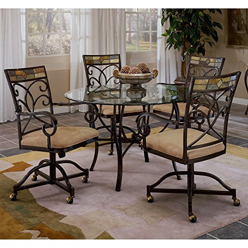 Hillsdale Pompei 5-Piece Dining Set with Glass Top & Castered Chairs- Gold/Slate Mosaic