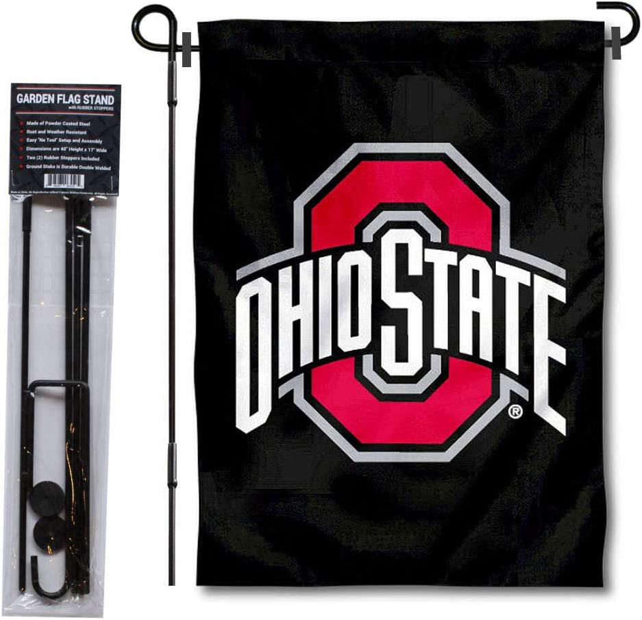 College Flags & Banners Co. OSU Buckeyes Black Garden Flag and Flag Stand Pole Holder Set