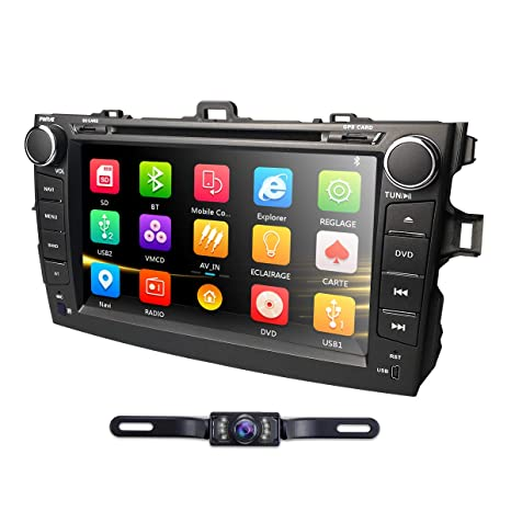 hizpo Car DVD Player 8 Inch Touch Screen GPS Stereo iPhone Music/AM FM  Radio/SWC/Bluetooth/AV-in Map Card + Rear Camera Fit F or Toyota Corolla  2007