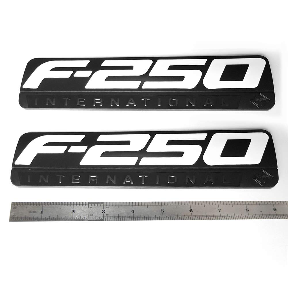 2x OEM Black F-250 International Side Fender Emblems Badge 3D logo Replacement for F250 Pickup White Sanucaraofo