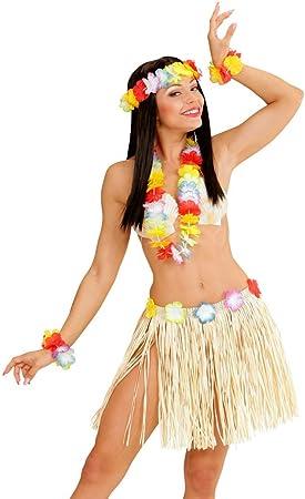 NET TOYS Disfraz Set Hawaiano Hula Collar Pulsera Flores Tocado ...