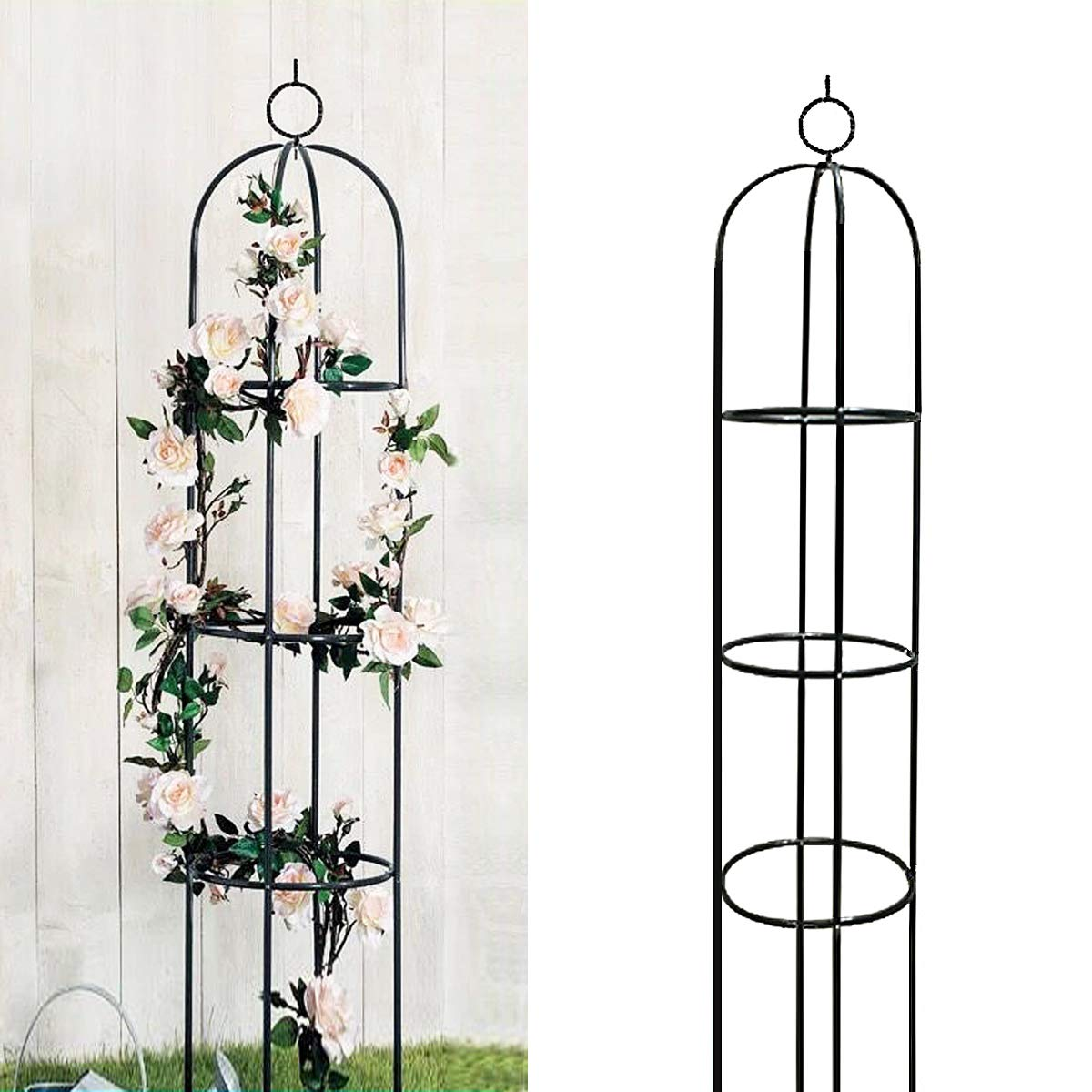 Garden Plant Trellis Plant Support for Climbing Vines and Flowers Stands 6.3 Feet Tall,Black Green Lightweight Plant Tower