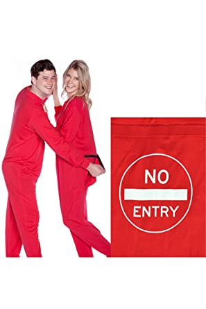 """Red Union Suit with Funny Butt Flap """"NO ENTRY"""" (M)"""