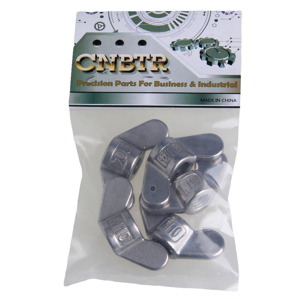 Cnbtr Argent M10/en acier inoxydable 304/pr/écis Jetant Papillon Nuts Fastener Wing Vis /Écrous Lot de 5