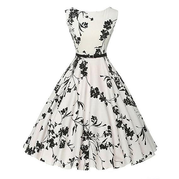 🏵Vestidos Mujer Verano 2018 Vestido Vintage Mujer para Fiesta Baile Linda Floral Impresión de Vestido Cóctel Oscilación Vestido sin Mangas de la Vendimia ...