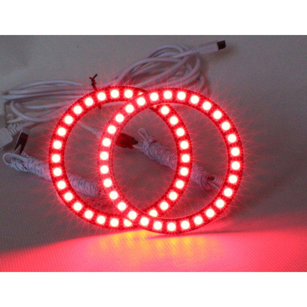 Qiuko 4pcs 70mm RGB Halo Rings Headlight Car Angel Eyes Motorcycle With 24 Keys Controller