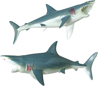 Dozen Large Squeaky Great White Shark Bathtub Toys - 9.5""