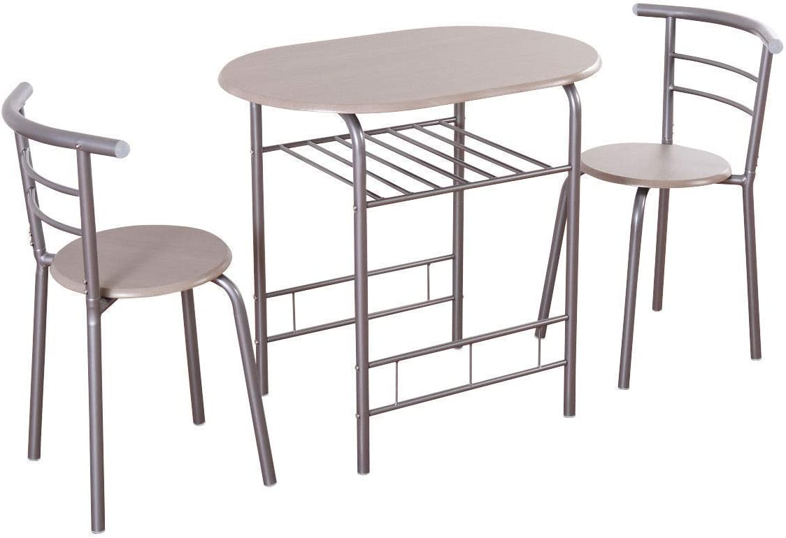 Casart 3 Piece Dining Set Compact 2 Chairs and Table Set
