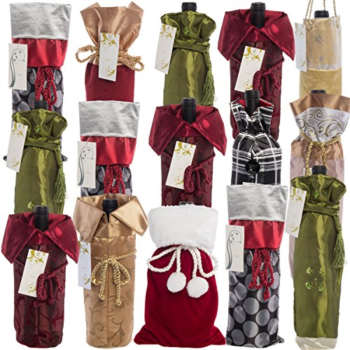 Holiday Wine or Champagne Bottle Assortment of Decorative Gift Bags (Set of 15)
