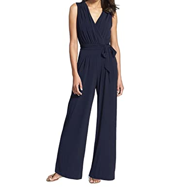 3ae50c92f5a Amazon.com  INIBUD Jumpsuits for Women Wrap Surplice Self-Tie Belt Sesh Zip  Closure Wide Leg Sleeveless V Neck Chiffon  Clothing