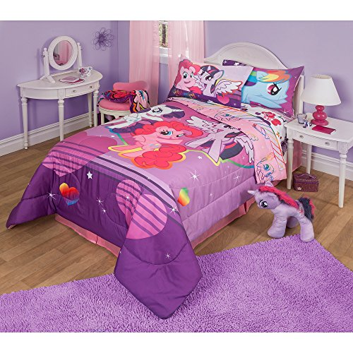 1 Piece Girls Purple Pink My Little Pony Comforter Twin Full, Multi Animation Characters Twilight Sparkle Rainbow Dash Pinkie Pie Pattern, Reversible Horsey Stars Magical Fantasy Themed Teen Polyester