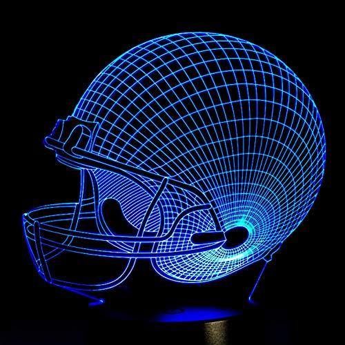 - SWPYD 3D Night Light Football Helmet Sports Caps Star 3D Lamp Team Logo Custom Made Multicolors Led Lighting Night Luminary Christmas