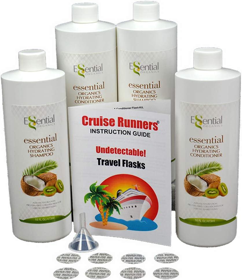 Fake Shampoo & Conditioner By CRUISE RUNNERS Hidden Liquor Alcohol Flasks For Booze Cruise | Enjoy Rum Runners 4 Bottles
