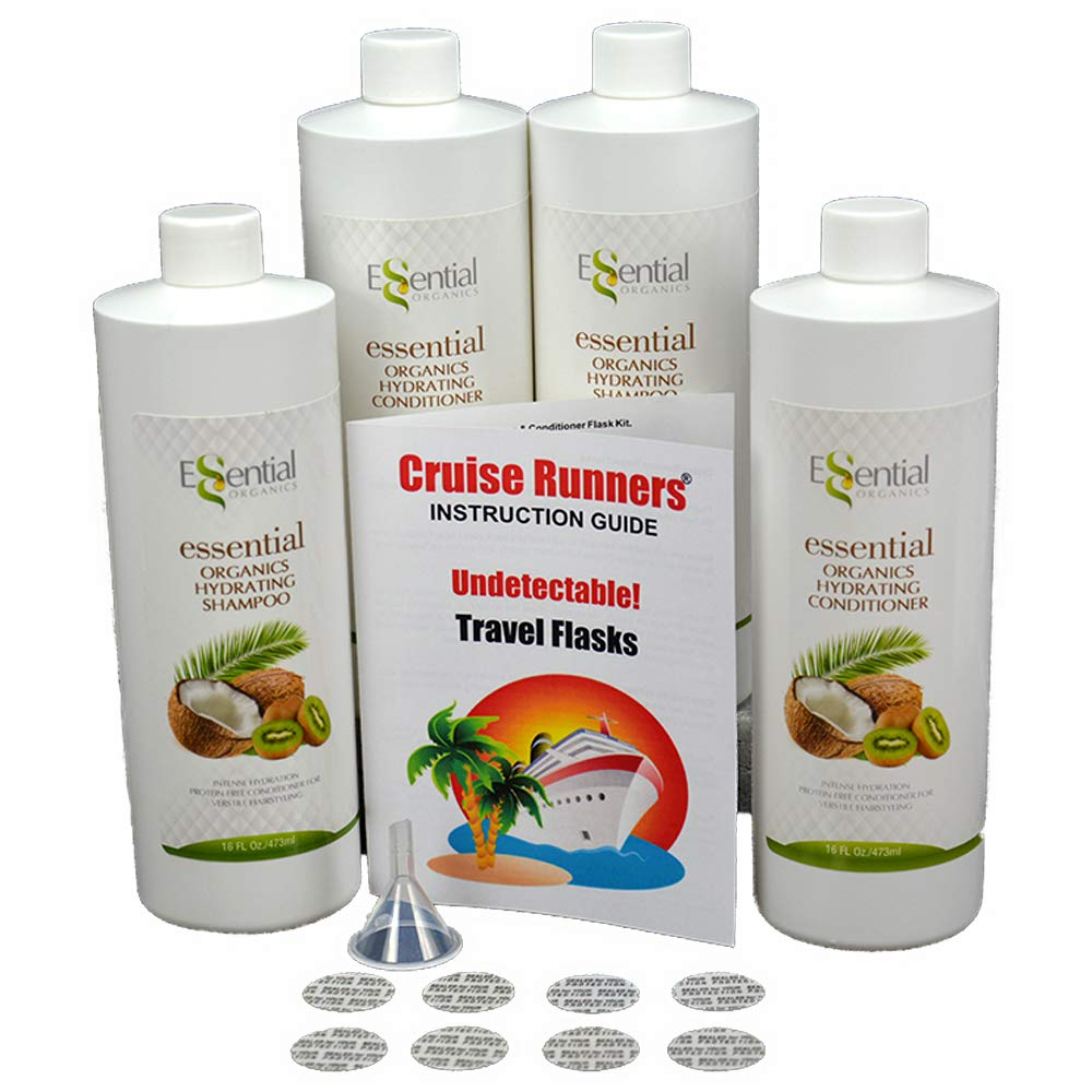 Fake Shampoo & Conditioner By CRUISE RUNNERS Hidden Liquor Alcohol Flasks For Booze Cruise | Enjoy Rum Runners 4 Bottles