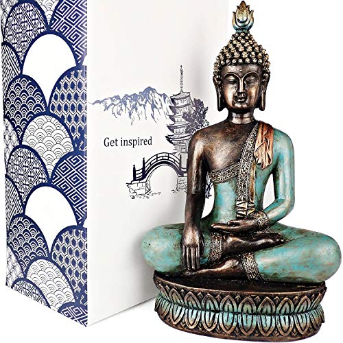 "25DOL Buddha Statue 13"" H in Meditation Pose for Home Decor - Made with Natural Stone and Durable Resin - Turquoise Gold and Bronze Finish - Bring Peace and Harmony into Your Home - Gift Box"