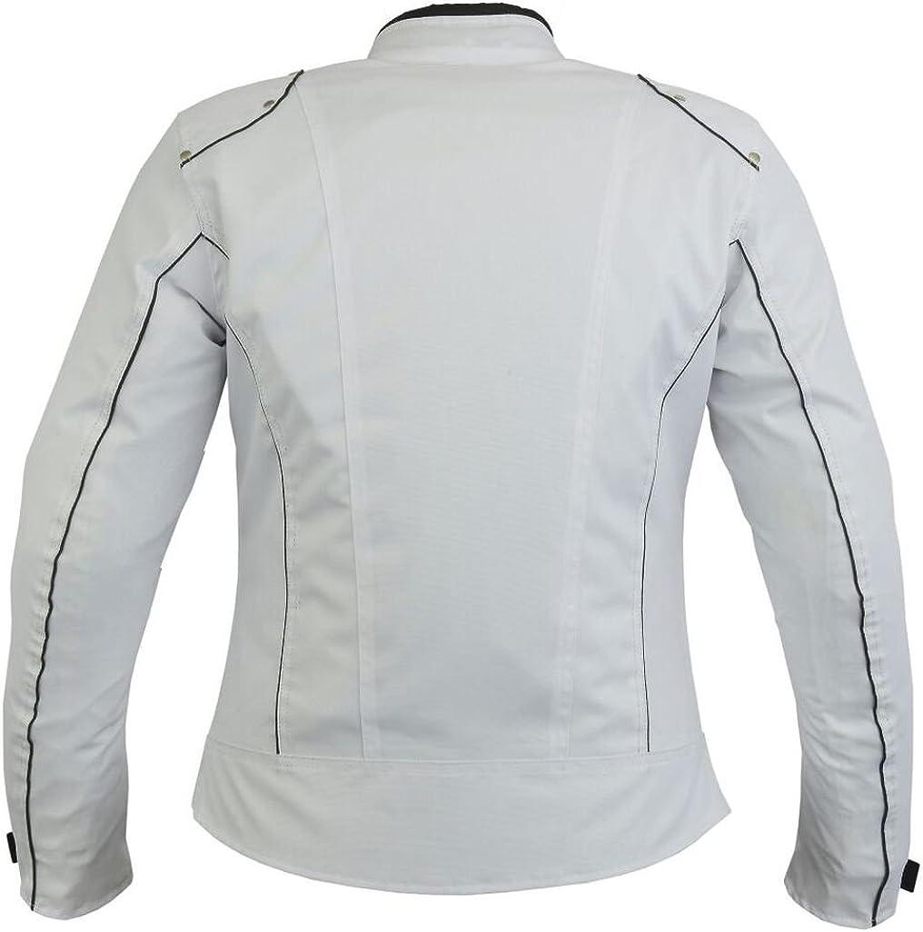Bangla 1516 Modische Damen Motorradjacke Bikerjacke Kurz Weiss S-XXXL