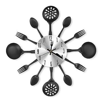 GANADA Reloj de Pared Grande 41.5cm Reloj Pared Moderno Reloj Silencioso Decoración Adorno para Hogar Salon Oficina Comedor Habitación (Negro): Amazon.es: ...