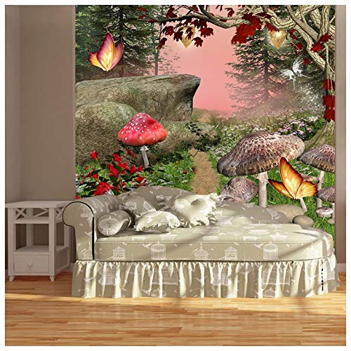 Enchanted Forest Butterflies Mushrooms Fantasy Wall Mural