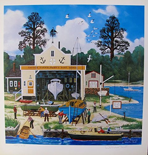 Leos Coffers Wall Art by Jane Wooster Scott Salem Shipyard Hand Signed Limited Ed. Lithograph Print. After The Original Painting or Drawing. Paper 13.5 Inches X 13.5