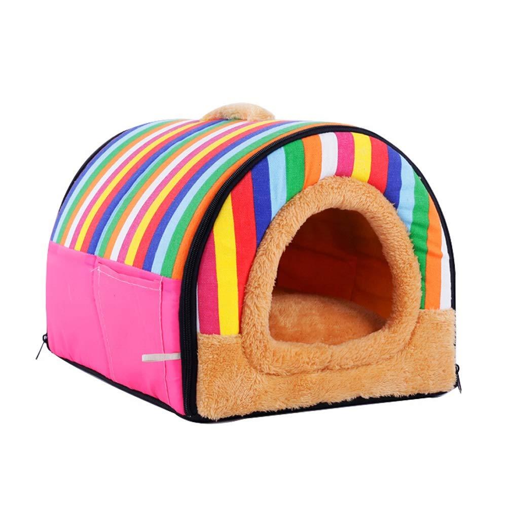 Jia Jia- ペットネストウォッシャブルテディケンネル猫スリーピングバッグペット用品レインボースモールハウス - スリーサイズ 子猫子犬ペットの巣 (サイズ さいず : 35*30*25cm) 35*30*25cm  B07QWK165N
