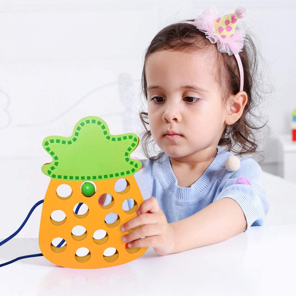 Tesoky Wooden Lacing Fruit Threading Toys Best Gift for Kids