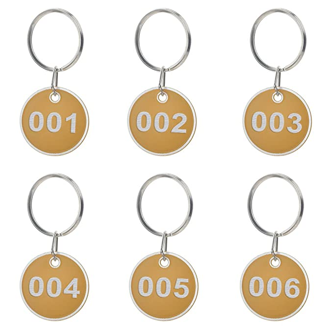 Aspire Etiqueta dominante del borde del metal Llaveros numerados 30mm 50 paquetes Amarillo 1a50