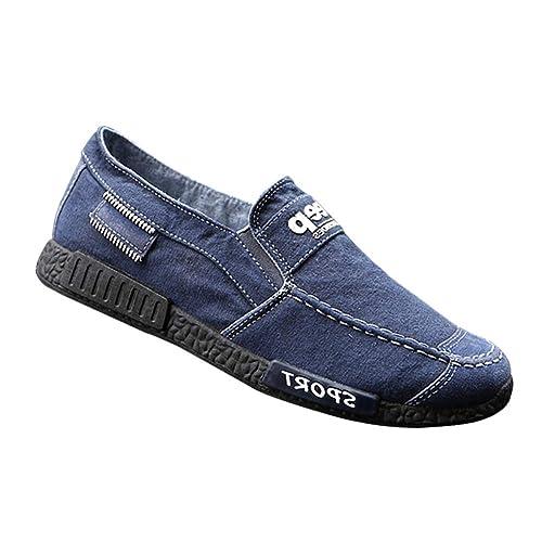Daytwork Deportes Alpargatas Planas Zapatos Hombre - Hombres Slip On Cordones Lona Zapatos Resbalón Zapatillas Conducción Calzado Entrenadores Running ...