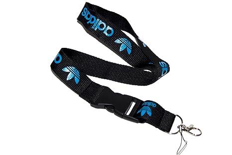 Negro y Azul Logo Llavero Cadena Negro Lanyard clip con ...