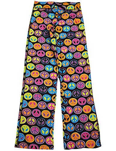 Fancy Girlz Junior Womens Polka Dot Peace Lounge Pant, Black, Multi 32647-X-Small