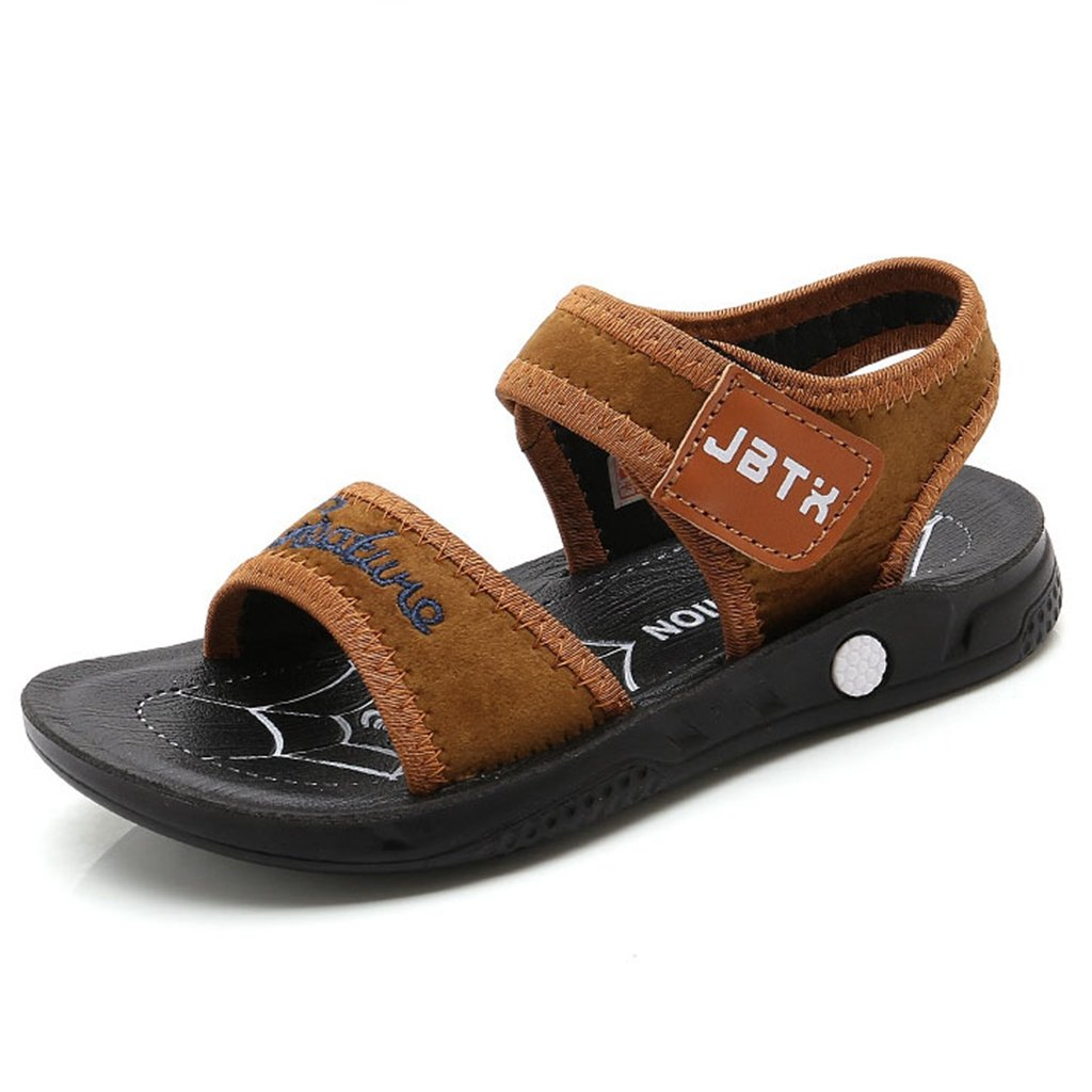 Boys Girl's Leather Sandals Open Toe Summer Outdoor Breathable Athleti Beach Flats Shoes(Toddler/Little Kid)