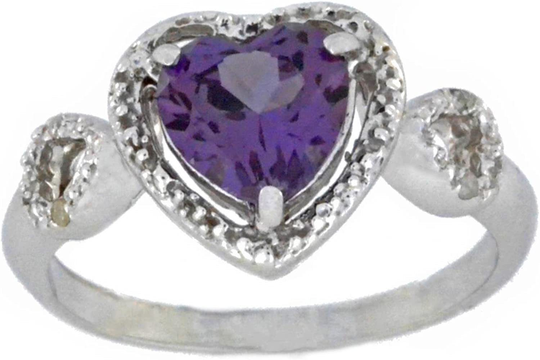 Alexandrite /& Diamond Heart Mom Ring .925 Sterling Silver