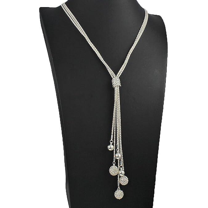 Long fitting dangling cubic zirconia ball bead silver ladies costume jewellery necklace YRCApNk