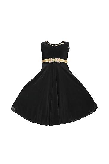 8d8dd8067ea YAYAVAR Girls Crepe Silk Black Colored Casual Party Wear Western Frock for  Girls - Set