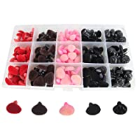 Bestartstore 140pcs 11/14/15/16mm 4colors Plastic Flocking D-type Animal Safety Nose for Bear, Doll, Dog,Puppet, Plush Animal Making and DIY Craft