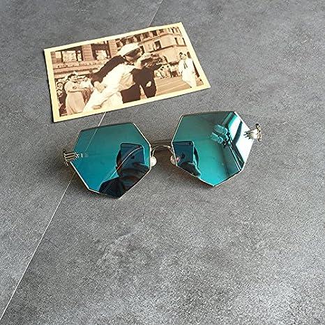 LXKMTYJ Viso tondo retrò ottagonale irregolare occhiali da sole perla ogiva occhiali scuri, blu riflettente