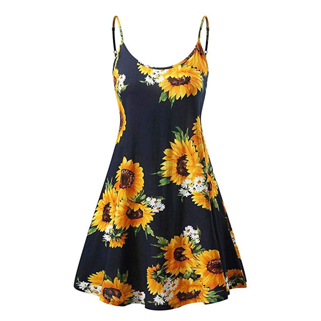 HIRIRI Women's Vintage Floral Printed Sleeveless Strappy Summer Beach Swing Camis T Shirt Dresses (M, Yellow) by HIRIRI