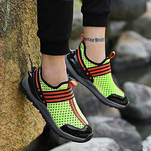 Enllerviid Heren Slip Op Casual Mode Sneakers Lichtgewicht Ademende Atletische Gym Sportschoenen 8358 Groen