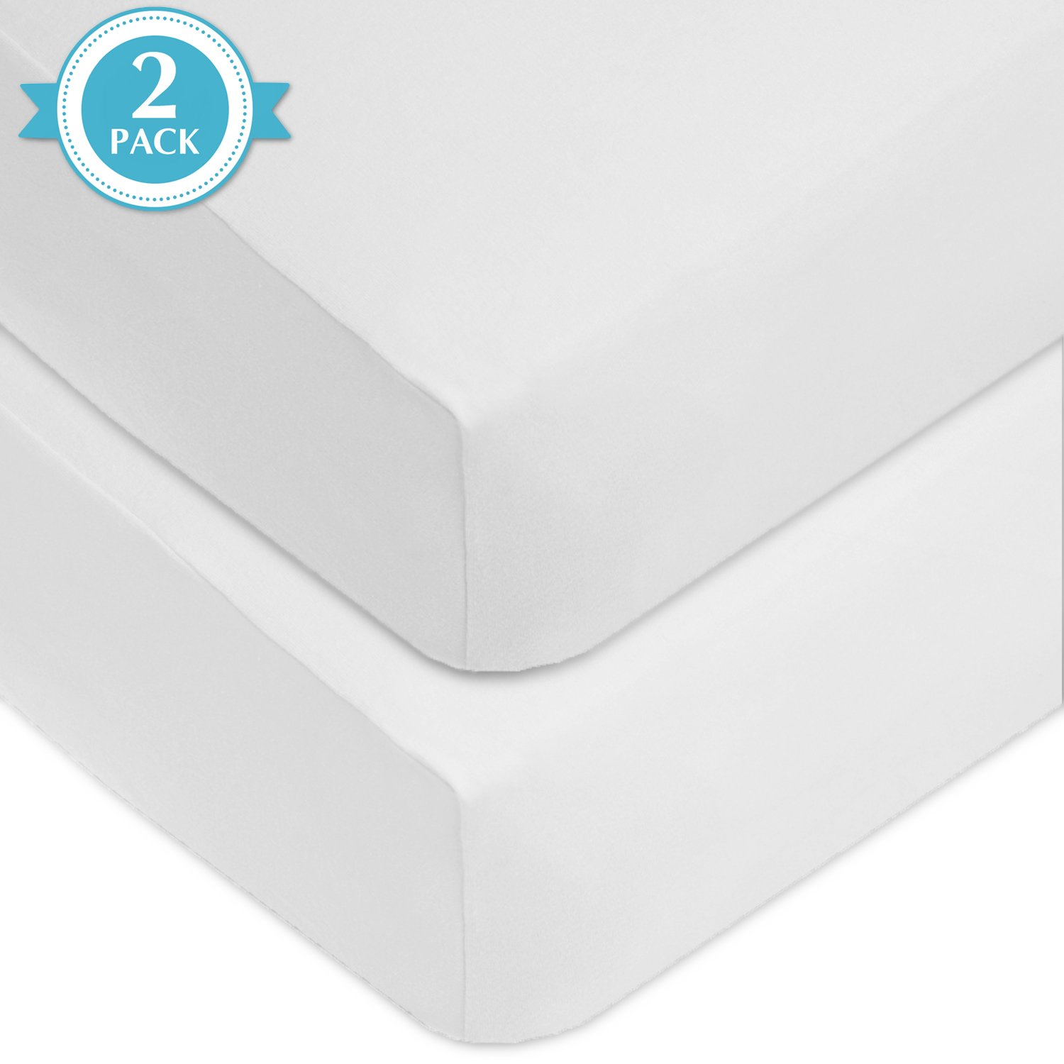 American Baby Company 2 Piece 100% Cotton Value Jersey Knit Fitted Crib Sheet, White by American Baby Company (Image #2)