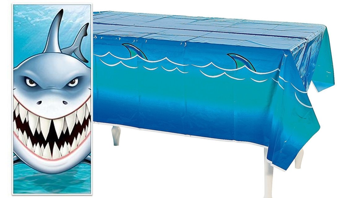 happy deals Shark Party Favor Decorating Set-(ONE) Shark Table Cover and (ONE) Shark Door Cover Set