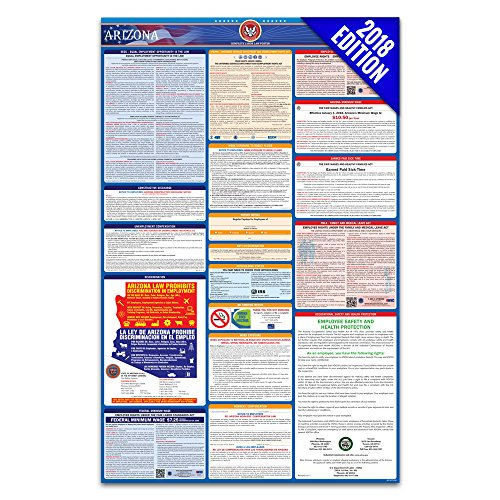 2018 Arizona Labor Law Poster – State & Federal Compliant – Laminated (Ca Poster Wage Minimum)