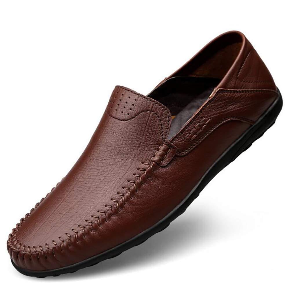 Qzny Herren Lederschuhe 2018 Sommer Herren Leder Freizeitschuhe Loafers Slip-Ons Fahren Schuhe (Farbe : B, Größe : 37)