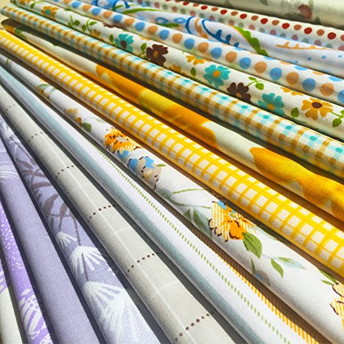 Cotton Fat (flic-flac 20 x 20 inches (51cmx51cm) Fat Quarter Natural Cotton Quilting Fabric Thick Craft Printed Fabric High Density Bundle Squares Patchwork Lint DIY Sewing (15pcs, Pattern)
