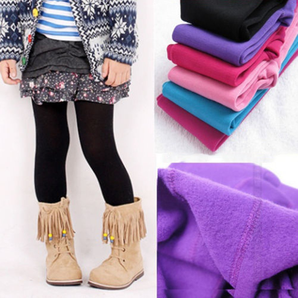 OULII Girls Winter Warm Velvet Lined Tights Trousers Kids Elastic Thick Leggings Ninth Pants For 8-12 Years Old Black