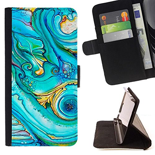 Blue Acrylic Ocean Swirl Painting - Colorful Pattern Flip Wallet Leather Holster Holster Protective Skin Case Cover For LG G4 Stylus / G Stylo / LS770 H635 H630D H631 MS631 H635 H540 H630D H542