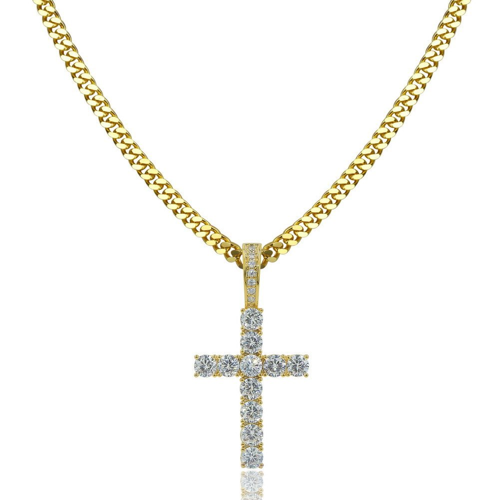 TOPGRILLZ 14K Gold&Silver Plated Micro Pave Cubic Zirconia Cross Pendant Neckace Mens Iced Out