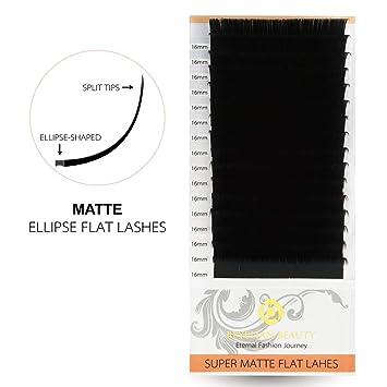 7ffc4e64915 Amazon.com : BEYELIAN Super Matte Finish Flat Eyelash Extensions D Curl 0.20  16mm Long Individual Mink Lash Extensions for Semi permanent Lash Building  : ...