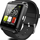 Smart Watch U8 Smart Watch Ultra Thin Watch Multifunction Watch Health Bluetooth Watch Phone Calls Supported 来電 Notification with Camera Support SIM/TF (black)