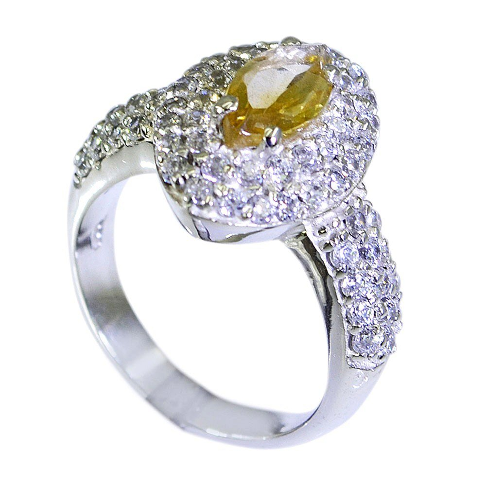 Jewelryonclick Genuine Citrine Jewelry Women Enagagement Ring Silver in Sizes 4,5,6,7,8,9,10,11,12