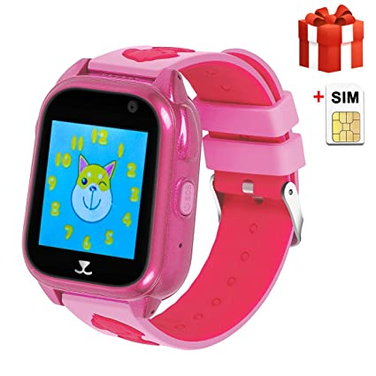 GPS Kids Smartwatch [SIM Card Included] IP68 Waterproof Two-Way Call SOS Call Camera Sound Guardian Voice Chat Pedometer Boys Girls Gifts